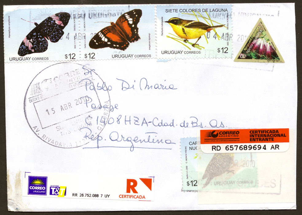 A real letter sent from Montevideo to Buenos Aires