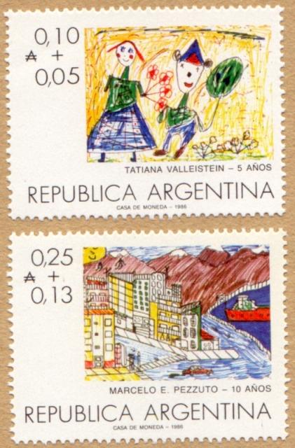 """Día del Niño 1986 Valores Faciales en """"Australes"""""""