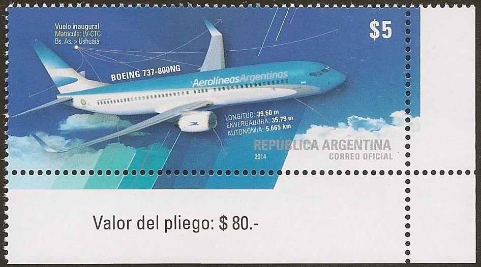 Boeing 737-800NG Vuelo Inaugural Buenos Aires - Usuhaia Aerolíneas Argentinas - Año de Emisión 2014