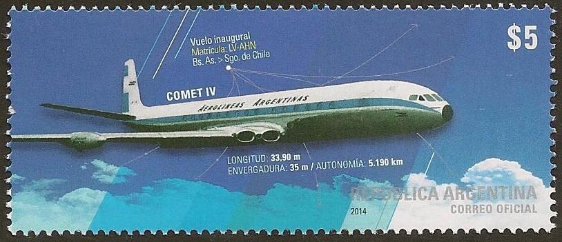 """Comet IV """"Las Tres Marías"""" Vuelo Inaugural Buenos Aires-Chile - Aerolíneas Argentinas - Año de Emisión del Sello Postal 2014"""